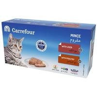 Carrefour Senior Cat Mince with Liver & with Poultry 100gx4
