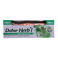 Dabur Herb'l Basil Toothpaste 150g with Brush Free