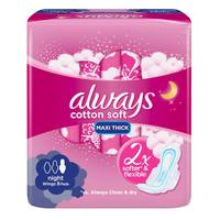 Always Soft Maxi Thick, Night sanitary pads with wings, 8 count