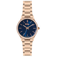 Lee Cooper Women's Analog Rose Gold Case Rose Gold Super Metal Strap Blue Dial -LC06303.490