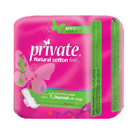 Private Ladies Pads Extra Thin Normal Wings 10 Napkins