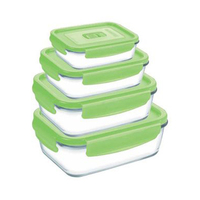 Luminarc Pure Box Active Rectangular Food Saver Green 4 Pieces
