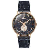 Lee Cooper Men's Multi-Function Rose Gold Case Blue Leather Strap Blue Dial -