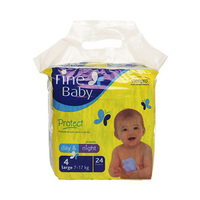 Fine Baby Diapers Day & Night Yellow Size 4 7-17KG 24 Diapers