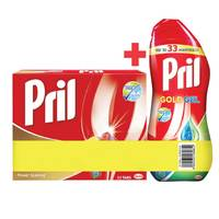 Pril Gold 12 Action Dishwahing 22 Tablets + Pril Gold Gel 670ml