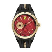 Scuderia Ferrari Men's Watch RERET Analog Red Dial Black Silicon Band 44mm Case