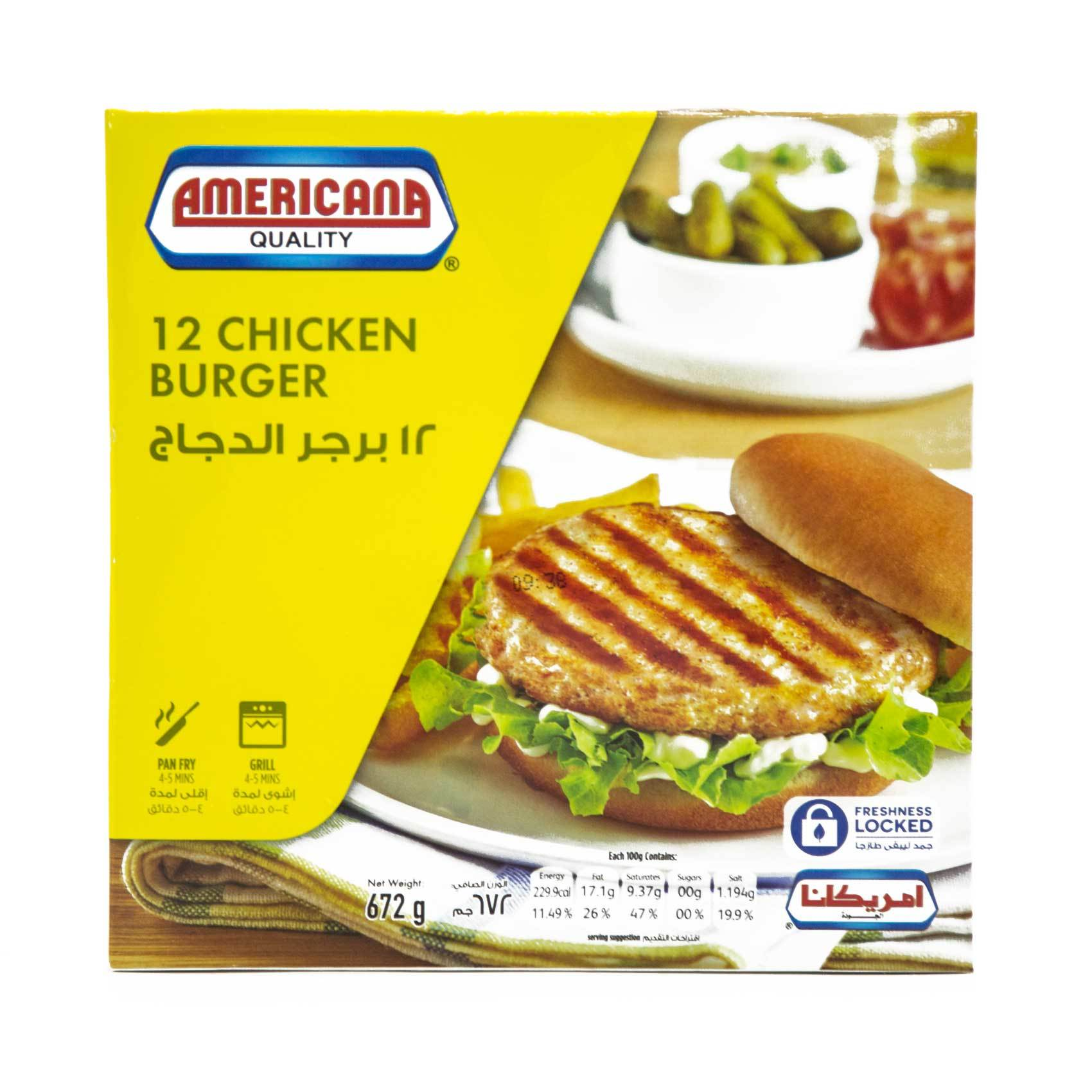 AMERICANA CHICKEN BURGER 12S
