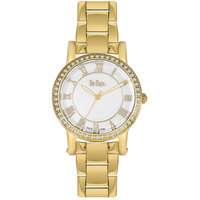 Lee Cooper Women's Analog Gold Case Gold Super Metal Strap White Dial -LC06356.490