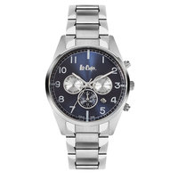 Lee Cooper Men's Multi-Function Silver Case Silver Super Metal Strap Blue Dial -LC06313.390