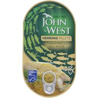 John West Herring Fillets In Mustard And Dill Sauce 160g