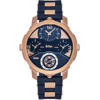 Lee Cooper Men's Analog Rose Gold Case Blue Resin Strap Blue Dial -LC06223.499