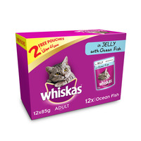 WHISKAS® In Jelly with Ocean Fish Wet Cat Food Pouch Multipack 85g x (10 +2free)