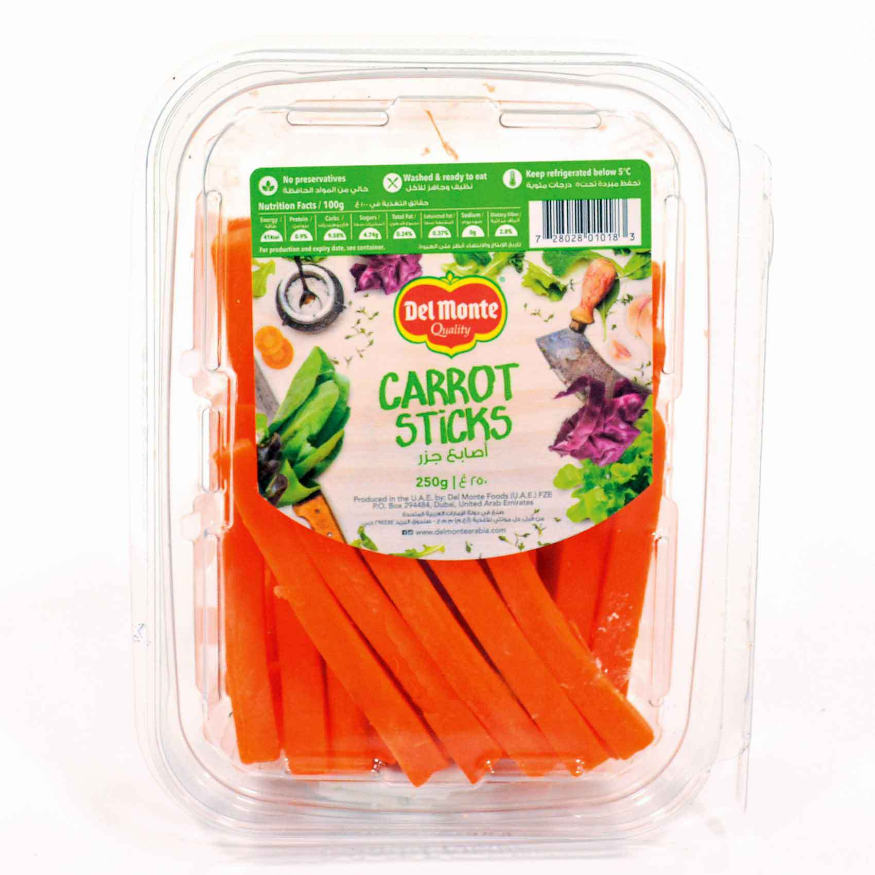 DM PEELED CARROT STICKS 250G