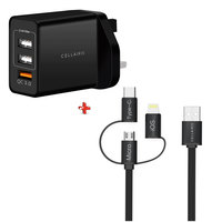 Cellairis Home Charger Trio USB + 3 in 1 Cable ( Lightning, Type-C and Micro USB)