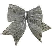 Christmas Bowknot Ornament 25X20Cm Silver