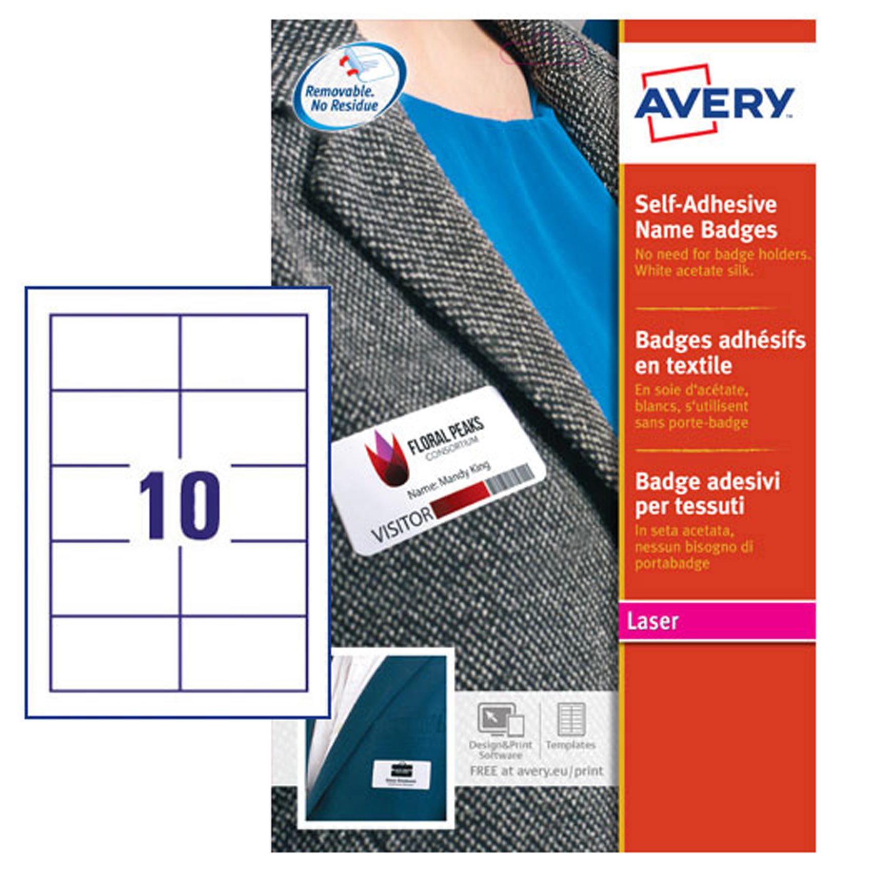 buy avery name badge self adhesive l4785 20 online shop avery on