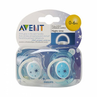 Philips Avent Glow In The Dark Soothers Blue 0-6 Months