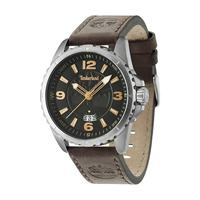 Timberland Men's Watch Walden Analog Black Dial Brown Leather Band 46mm Case
