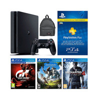 Sony Ps4 Console 500GB Slim+ Grain Turismo Sport+ Horizon Zero Dawn+ UnCharted 4+ 3 Months Playstation Plus Membership+ Bag-Black Color