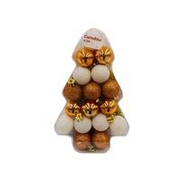 Christmas Deco Balls White & Copper Set Of 34 3CM
