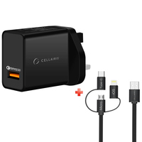 Cellairis Wall Charger QC + 3 in 1 Cable (Micro ,Lightning & Type-C)