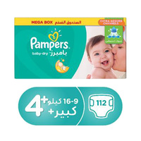 Pampers Diapers Mega Box Size 4 + 112 Pieces