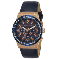 Giordano Men's Watch Multi Function Display Blue Dial Blue Genuine Leather Strap - 1757-04