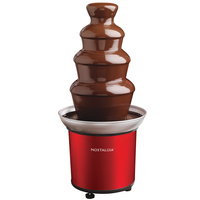 Nostalgia Retro Series 4-Tier Chocolate Fondue Fountain, 360W, Red, CFF986RR