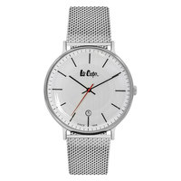 Lee Cooper Men's Analog Silver Case Silver Super Metal Strap White Dial -LC06382.330