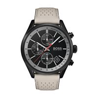 Hugo Boss Men's Watch GRAND Analog Black  Dial Beige  Leather Band 44mm  Case