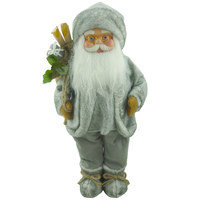 Santa Figures-45cm Plush Standing Grey Santa