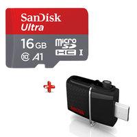 SanDisk Micro SD Ultra 16GB + Dual Drive USB 16GB