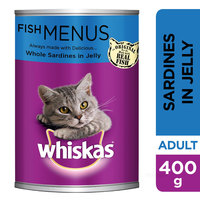 WHISKAS® Whole Sardines in Jelly Wet Cat Food Can 400g