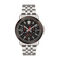 Scuderia Ferrari Men's Watch Turbo Analog Black Dial Silver Stainless Steel Band 42mm Case
