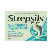 Strepsils Sore Throat & Blocked Nose Menthol 24 Lozenges