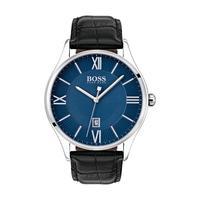 Hugo Boss Men's Watch GOVNR Analog Blue Dial Black Leather Band 43mm  Case