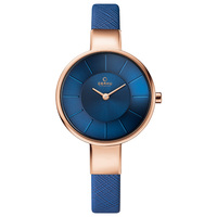 Obaku Women's Watch V149 Analog Cream Dial Blue Leather Band 32mm Rose Gold Case