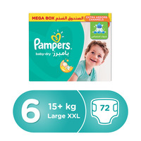 Pampers Baby-Dry Diapers Size 6 Extra Large 15kg Mega Box 72 Count