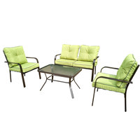 Odell Wicker Coffee Set With Cushions