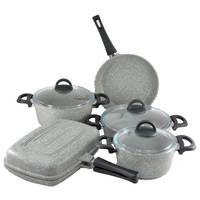 Granite 9Pcs Grey Double Frypan Cooking Set