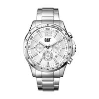 CAT Men's Watch Boston Chrono Analog Silver Dial Silver Metal Band 44mm  Case