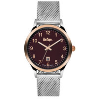 Lee Cooper Men's Analog Silver Case Black Super Metal Strap Brown Dial -LC06297.580