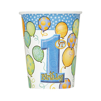 Unique Cup First Birthday Blue 8 Pieces