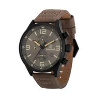 Timberland Men's Watch Rutherford Analog Grey Dial Brown Leather Band 45mm Case
