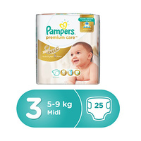 Pampers Diapers Premium Size 3 MIP Midi 25 Pieces -8%