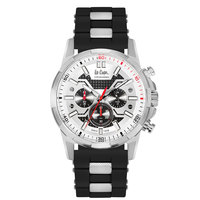 Lee Cooper Men's Chronograph Silver Case Black Super Metal Strap Silver Dial -LC06360.351