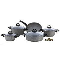 Cooking Set Granite Grey 9Pcs