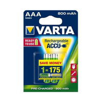 Varta Rechargeable AAA 800mAh 2 Batteries