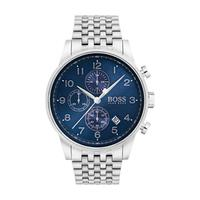 Hugo Boss Men's Watch NAVTR Analog Blue Dial Silver Metal Band 44mm  Case