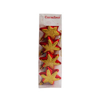 Hanging Stars Red & Gold Set Of 4 7CM